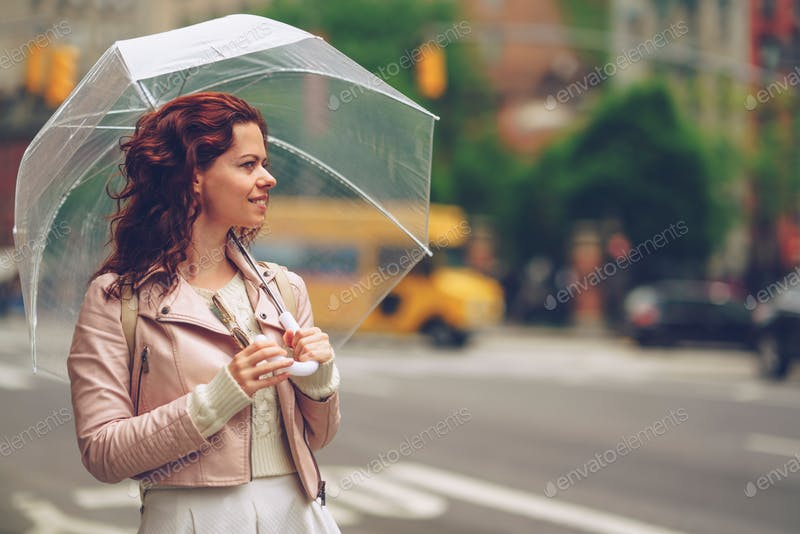 A Smiling Girl Holding A Transparent Umbrella PSD Template.