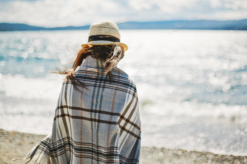 A Woman In Hat And Blanket PSD File.
