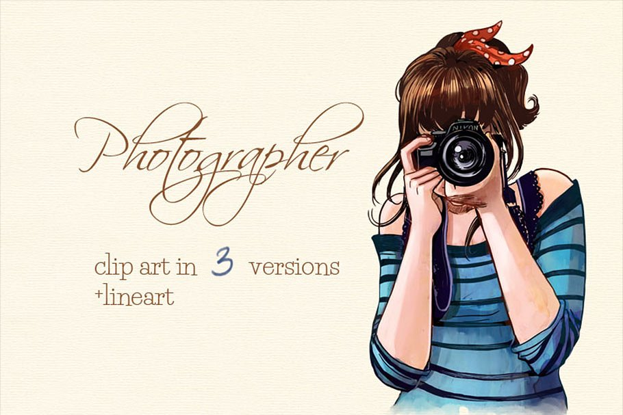 A Women With Camera In A Clip Art PSD Template