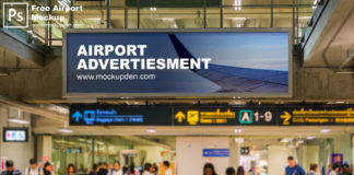 Free Airport Mockup PSD Template