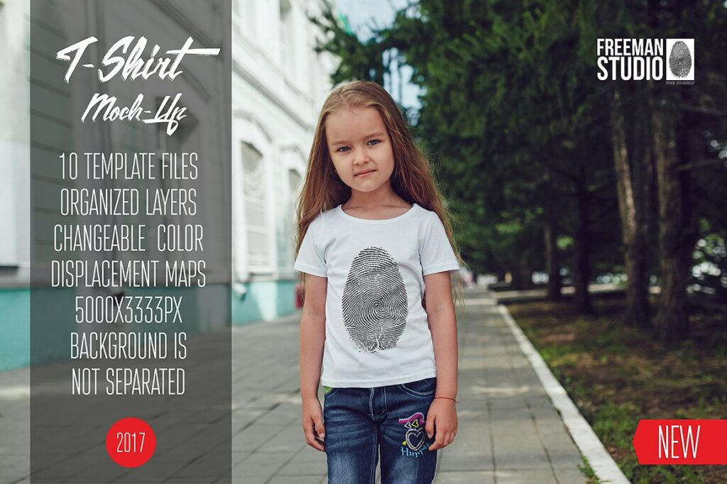 An Innocent Kid Wearing A White T-shirt Mockup.