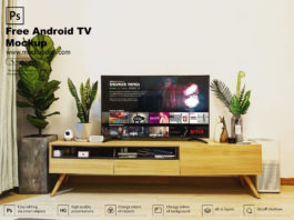 Free Android TV Mockup PSD Template