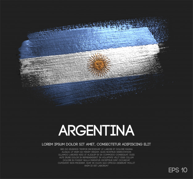 Argentina Flag Made of Glitter And water Paint Vector.