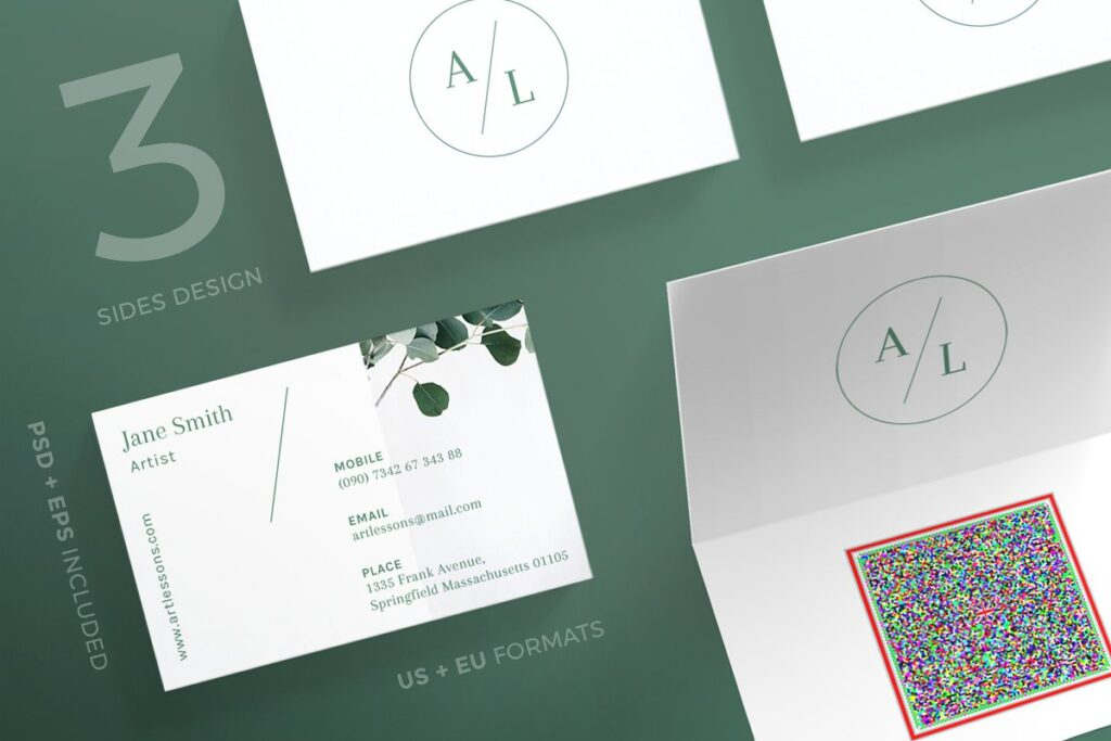 Artistic Theme 3 Sides Design Folded Business Card