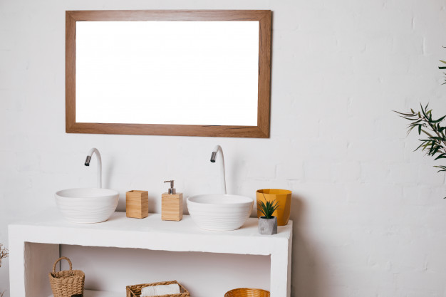 Bathroom with two sinks. mockup big mirror hanging on white wall Premium Psd