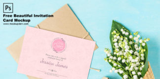 Free Beautiful Invitation Card Mockup PSD Template