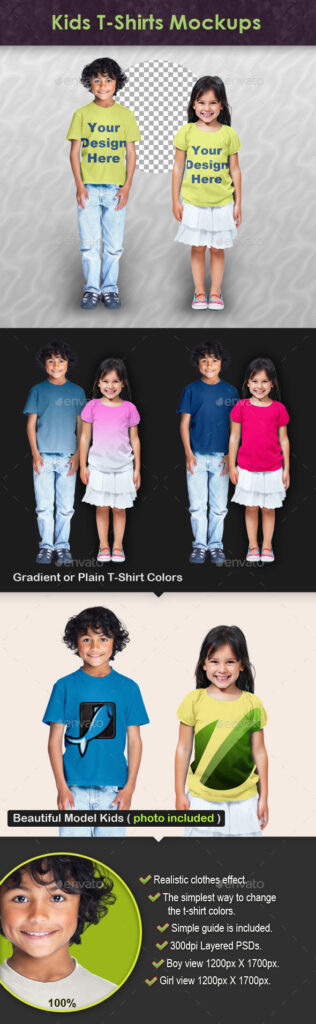 Beautiful Model Kids Wearing T-shirts PSD Template.