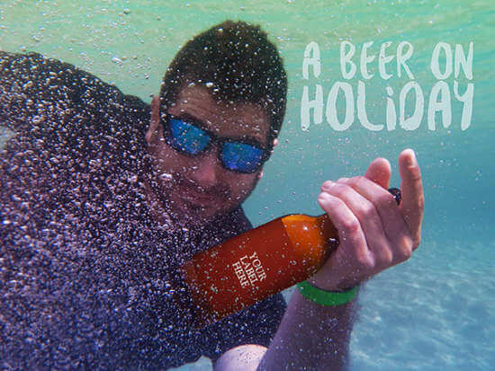 Beer Bottle under water mockup: