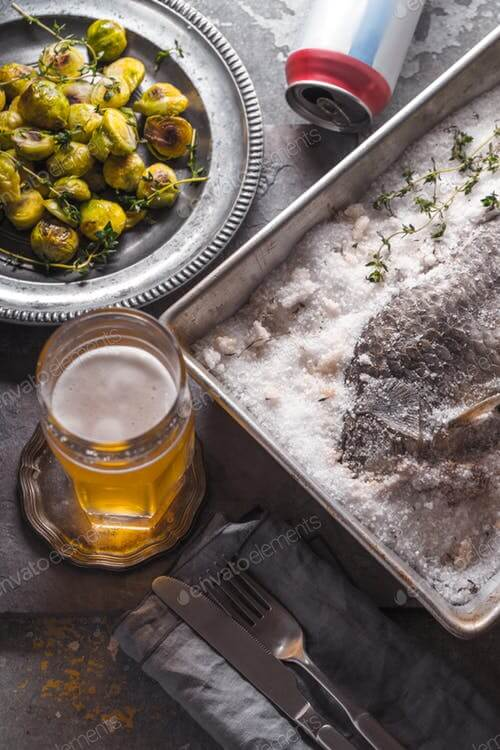 Beer Glass, Can And Fish On Plate Mockup