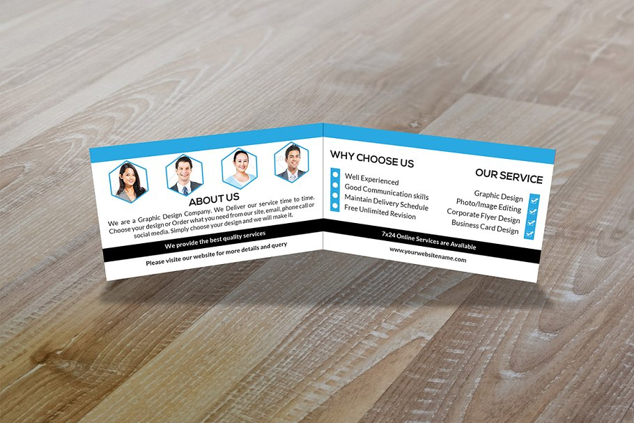 Bi-Fold Business Card Mockup Illustration With Members Photo