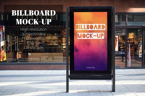 Billboard Placed In Front Of Shop Mockup