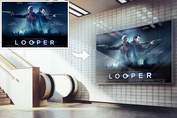 Billboard Placed In front Of Stairs Mockup