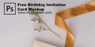 Free Birthday Invitation Card Mockup PSD Template