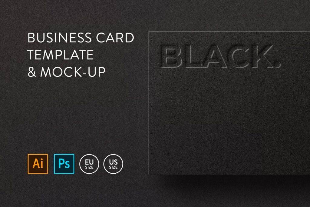 Black Ai And PSD File Format Business Card Mockup With Text Embossed On It