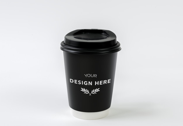 Black Coffee Cup Design in PSD Format