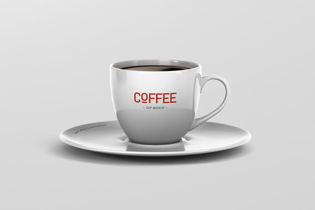 Black Coffee Cup and Saucer Vector template