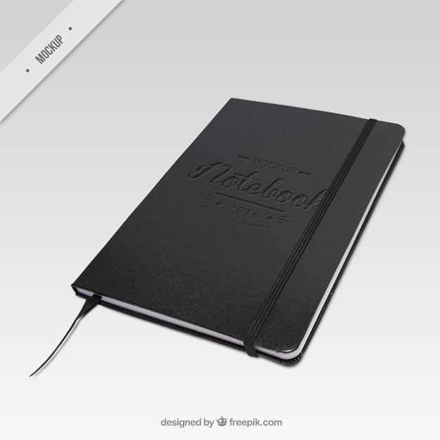 Black Color Notebook PSD Template