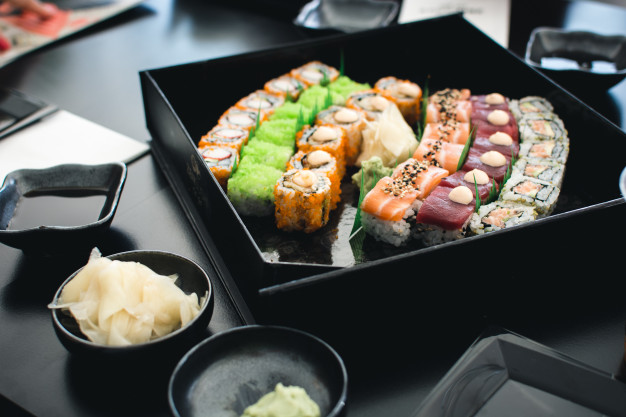 Black Color Sushi Set Mockup