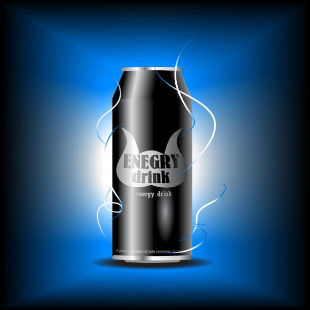 Black Energy Drink Can Mockup With Blue Background
