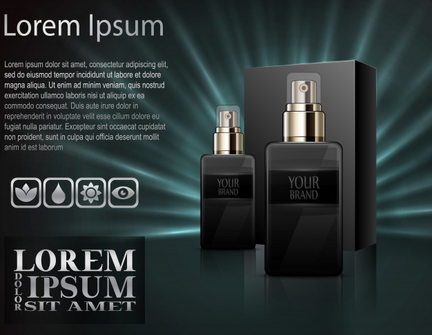 Black Perfume Bottle Vector: