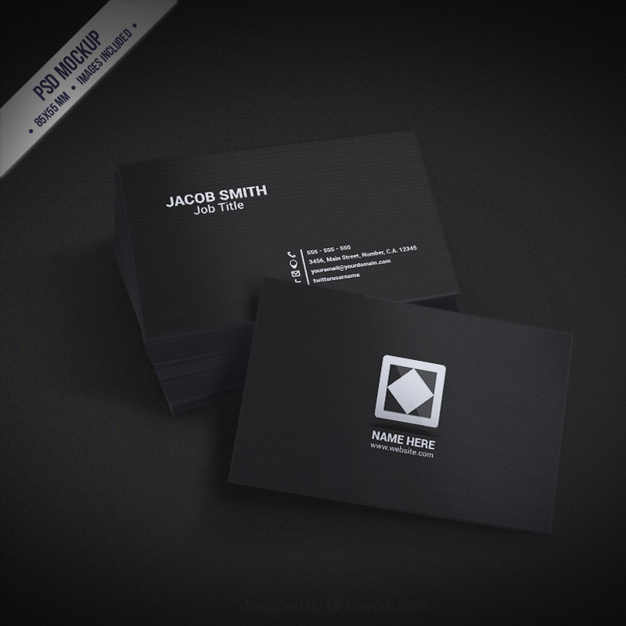 Black Square Business Card PSD Mockup