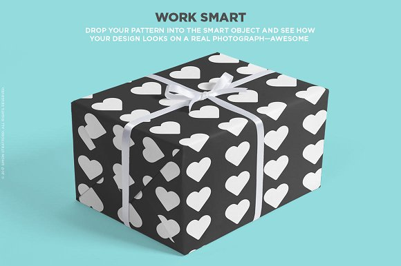 Black Wrapping paper with hearts