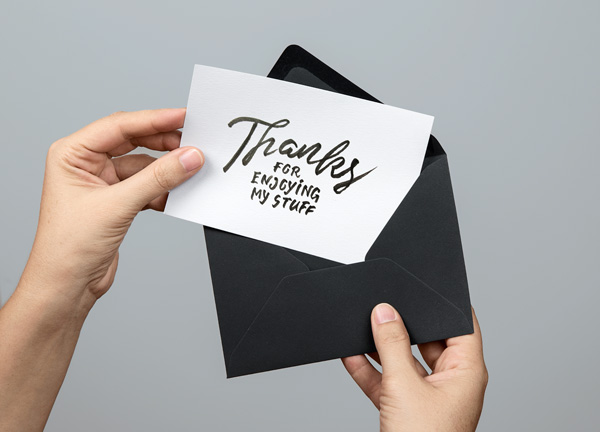 Black and White Color Greeting Card Mockup PSD