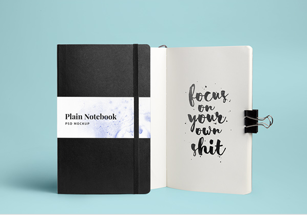 Black and White Color Notebook PSD Template