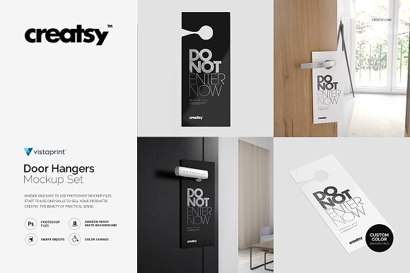 Black and White Door Hanger PSD Template: