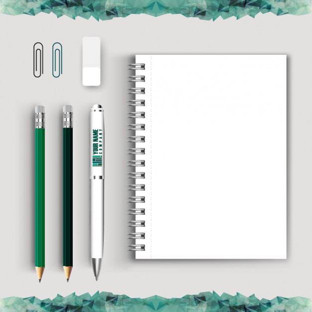 Blank Notebook With Stationery Vector