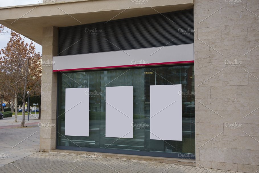 Blank billboard and storefront mockup