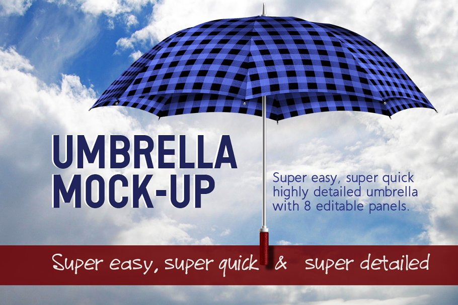 Blue And Black Colored Umbrella PSD Mockup.