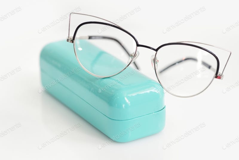 Blue Case with fashionable glasses Mockup PSD