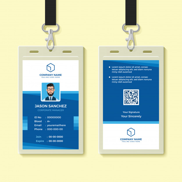 Blue Employee ID Card Design In vector Format