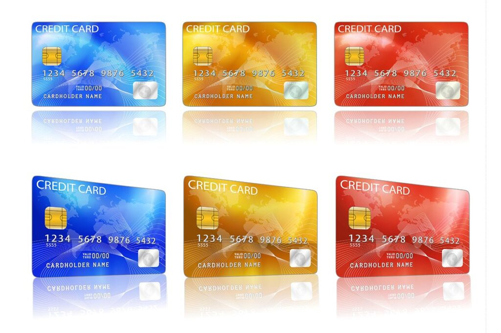 Blue, yellow And Red Credit Card Mockup.