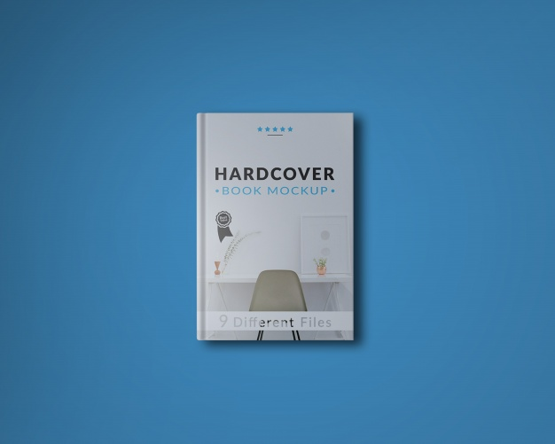 Book cover on blue background mock up Free Psd
