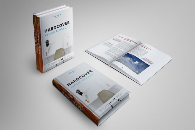 Book's cover and pages mock up Free Psd