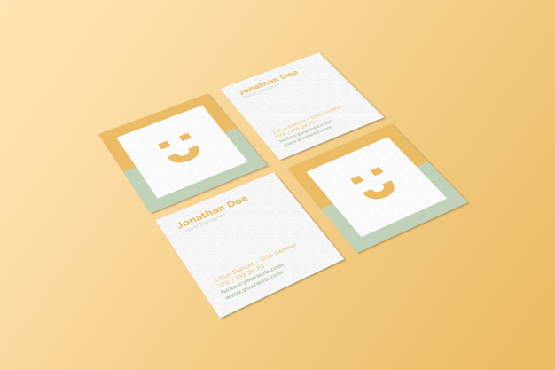 Both the faces of a Square Business Card Design