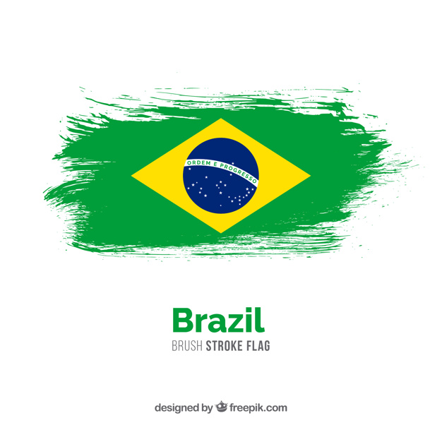 Brazil Flag made Of Water Color Vector.