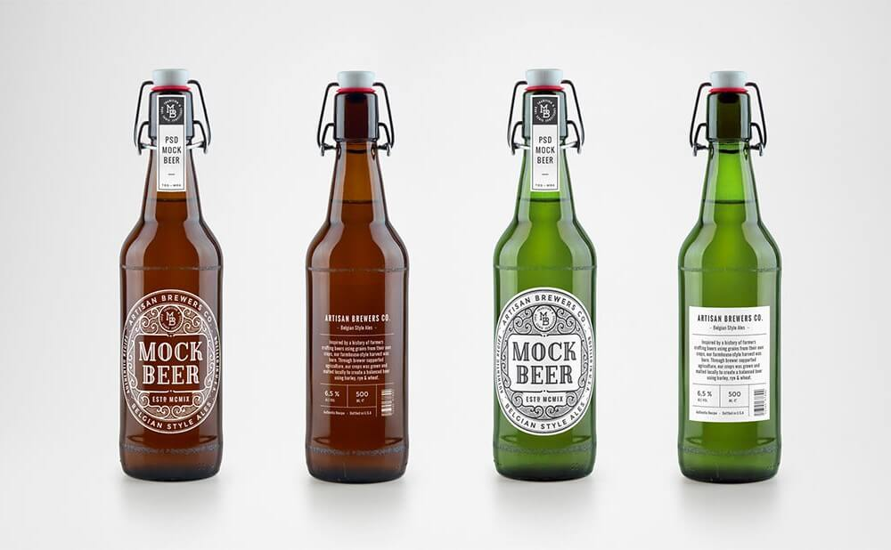 Brown Green Beer Bottle PSD Template: