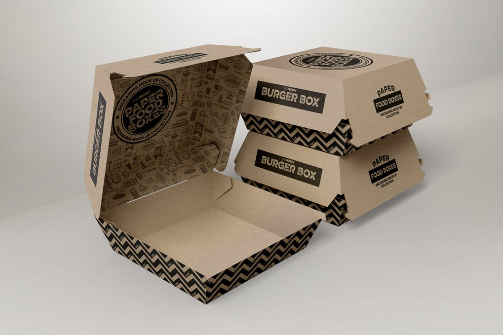 Burger And Pizza Packaging Box Mockup