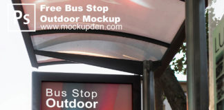 Free Bus Stop Outdoor Mockup PSD Template