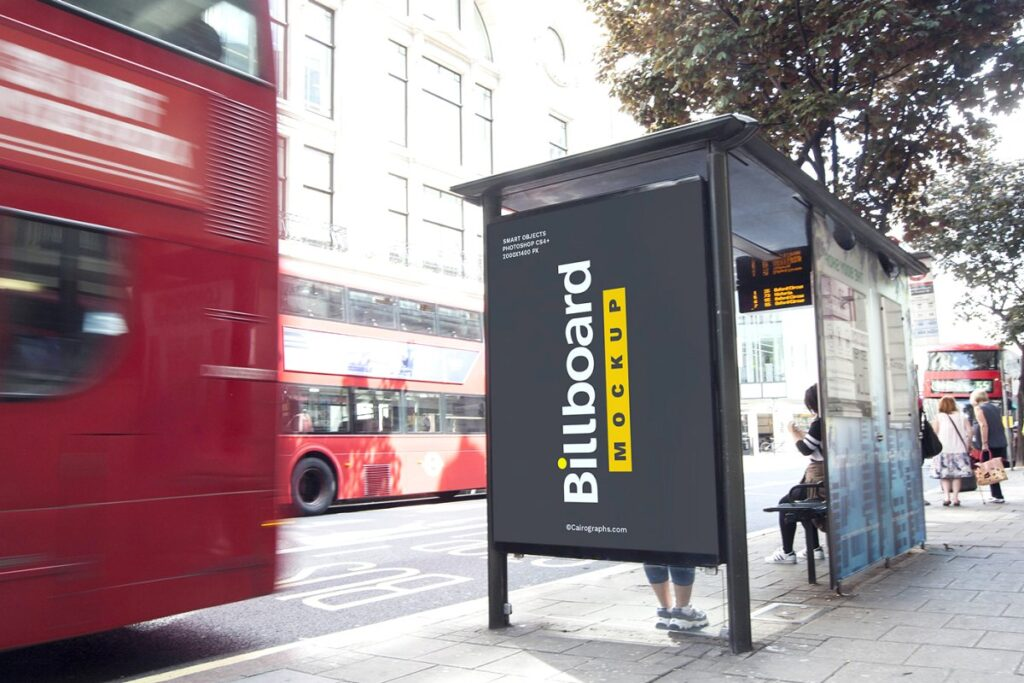 Bus stand street billboard PSD