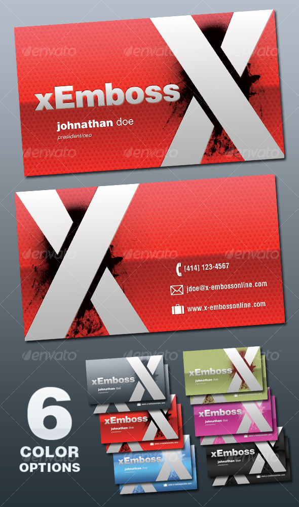 Business Card Mockup Illustration With 6 Different Color Option
