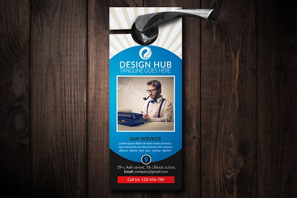 Business Design Hub Door Hanging PSD Mockup