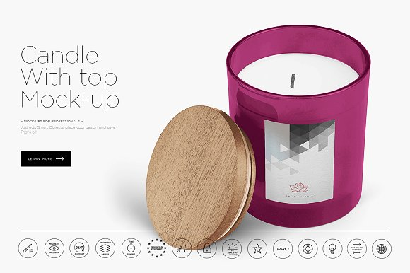 Candle Glass With Top Cover Design