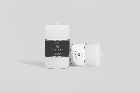 Candle With Labels Around It Mockup Design