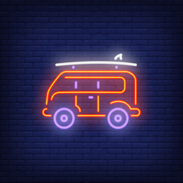 Car Branding With the Help of Neon Lights Vector