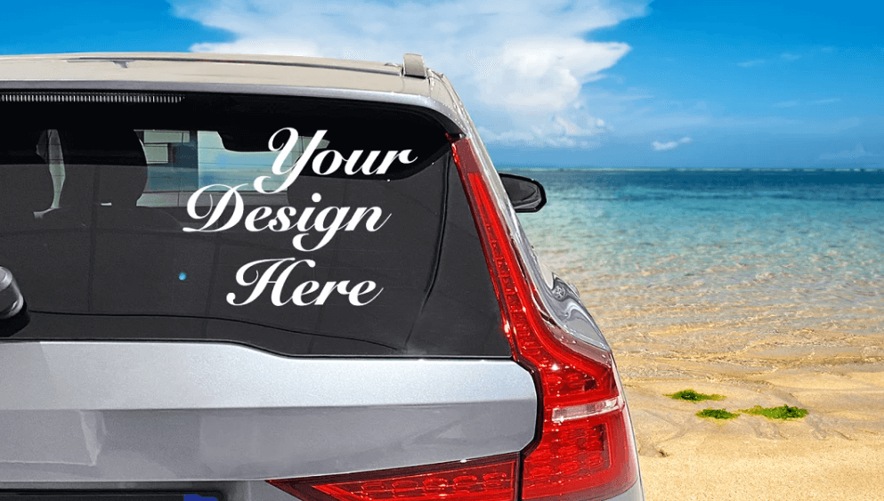 Car window mockup on a Summer background