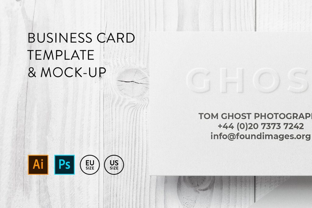 Card On White Wooden Table Mockup